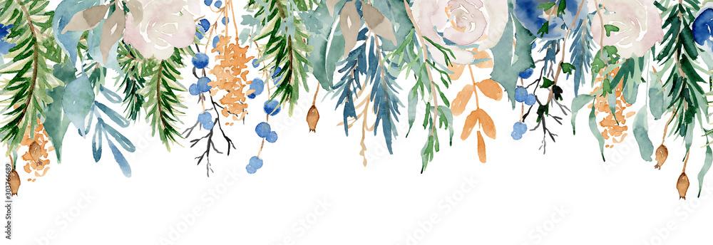Fototapeta Floral winter seamless border illustration. Christmas Decoration Print Design Template