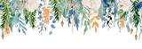 Fototapeta Kwiaty - Floral winter seamless border illustration. Christmas Decoration Print Design Template