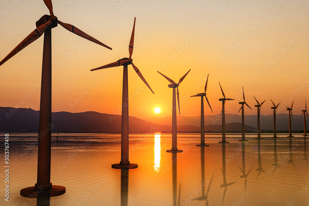 Fototapety, obrazy: Renewable energy, wind energy with windmills