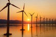 canvas print picture - Renewable energy, wind energy with windmills