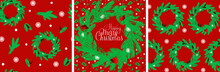 Set Of Seamless Festive Patterns And The Inscription Merry Christmas. Template With Pattern Christmas Wreaths A Red Background. Seamless Festive Vector Pattern. Merry Christmas. Suitable For Decoratio