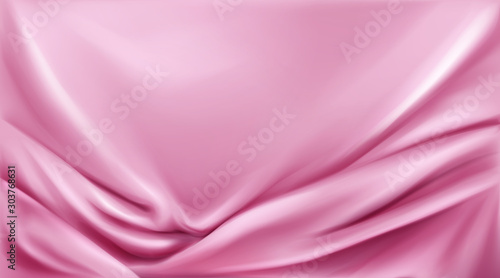 Pink silk folded fabric background, luxurious textile decoration backdrop for poster, banner or cover design Fototapet