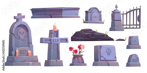 Leinwand Poster Cemetery set, graveyard tombstone, cracked stone cross with rip signature and ex