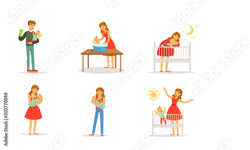 Young Parents and Their Newborn Baby Vector Illustrations Wallpaper Mural