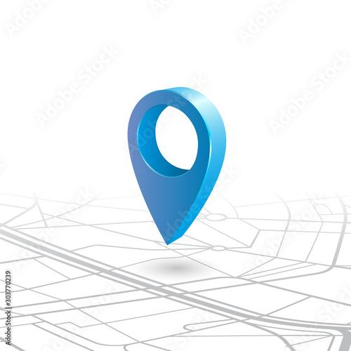 Fototapety, obrazy: GPS navigator pin checking blue color on map