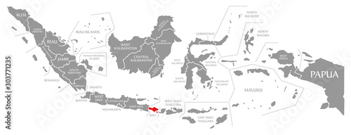 Fotografía Bali red highlighted in map of Indonesia