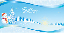 Happy New Year 2020. Christmas Tree And Snowman On Background Of Nature With A Wavy Pattern And Snowflakes. Vector Illustration