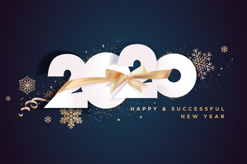 Business Happy New Year 2020 greeting card. Vector illustration concept for background, greeting card, website and mobile website banner, party invitation card, social media banner, marketing material