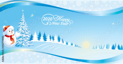Foto auf AluDibond Blau Happy New Year 2020. Christmas tree and snowman on background of nature with a wavy pattern and snowflakes. Vector illustration