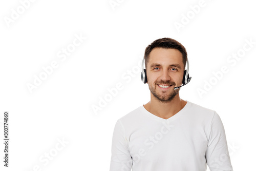 Leinwand Poster Call center worker man isolated on white background