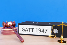 GATT 1947 – Folder With Labeling, Gavel And Libra – Law, Judgement, Lawyer