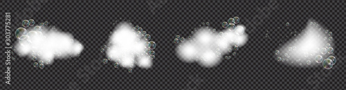Fotografie, Tablou Bath foam soap with bubbles isolated vector illustration on transparent background