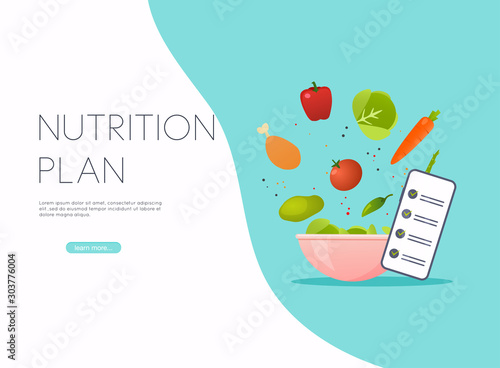Cuadros en Lienzo Healthy food and dieting concept