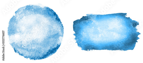 Two watercolor circle and rectangle on white as background Wallpaper Mural