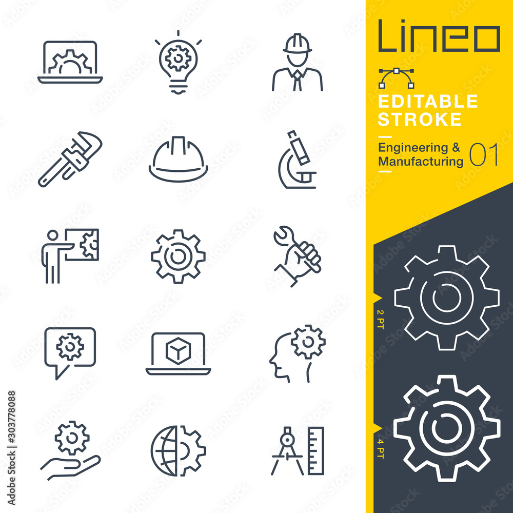 Fototapety, obrazy: Lineo Editable Stroke - Engineering and Manufacturing line icons