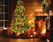 canvas print picture - interior christmas. magic glowing tree, fireplace, gifts in  dark