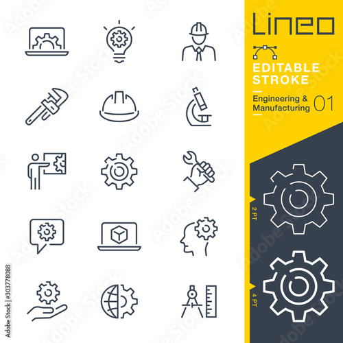 Cuadros en Lienzo Lineo Editable Stroke - Engineering and Manufacturing line icons