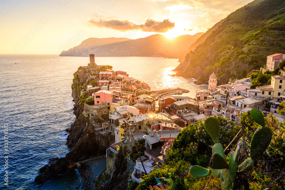Fototapety, obrazy: Vernazza - Village of Cinque Terre National Park at Coast of Italy. Beautiful colors at sunset. Province of La Spezia, Liguria, in the north of Italy - Travel destination and attraction in Europe.