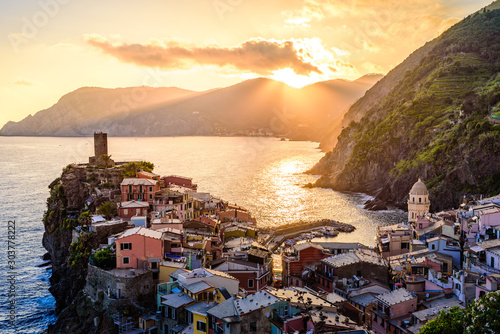 Foto op Canvas Noord Europa Vernazza - Village of Cinque Terre National Park at Coast of Italy. Beautiful colors at sunset. Province of La Spezia, Liguria, in the north of Italy - Travel destination and attraction in Europe.