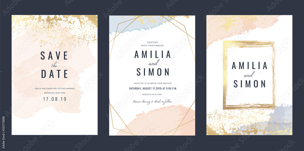Fototapeta Luxury Marble Wedding invitation cards, Save The Date card design with rose gold and pink watercolour brush decoration style- Vector