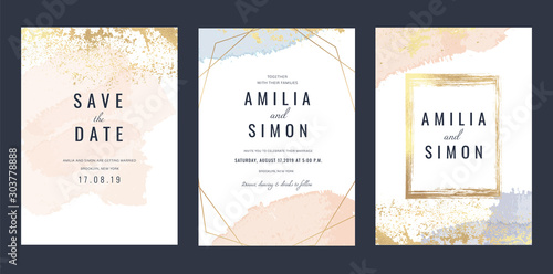 Fototapeta Luxury Marble Wedding invitation cards, Save The Date card design with rose gold and pink watercolour brush decoration style- Vector  obraz