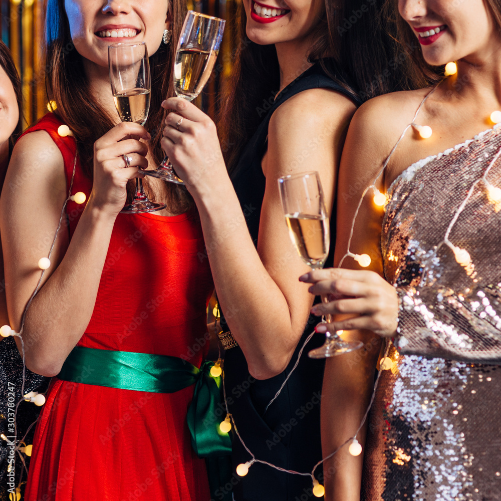 Fototapety, obrazy: Group of friends celebrating, Christmas party, New Year