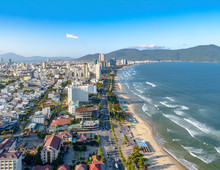 View Of The Coastal Area Of Da Nang In Central Vietnam And The Famous Seaside My Khe Beach With Several Skyscrapers And Hotels.
