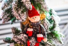 Handmade Funny Christmas Elf Toy On The Tree