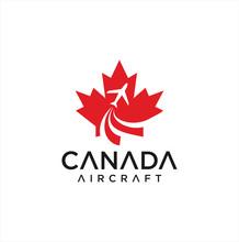 Canadian Aviation Logo Design Vector Illustration . Canadian Aircraft Logo Design .  Canada Airlines Logo . Maple Leaf Logo.