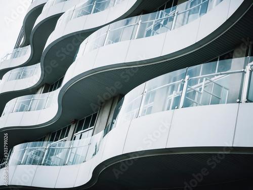 Fotomural  Architecture detail Modern building Terrace design Glass panel pattern