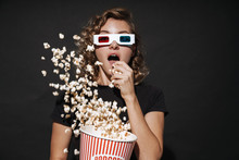 Concentrated Cute Young Woman Eat Popcorn Watch Cinema.