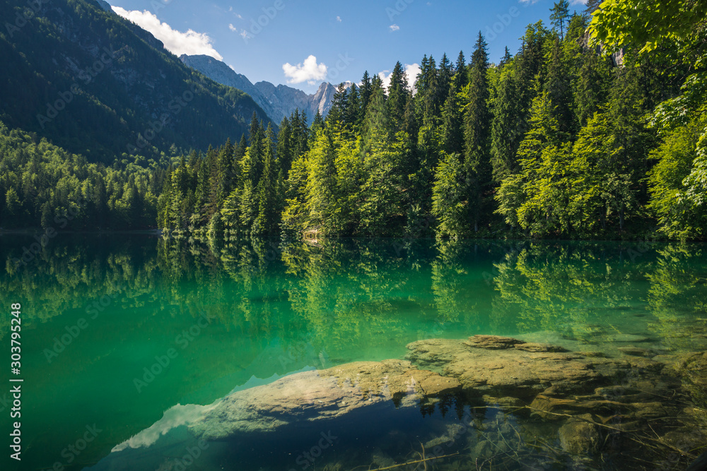 Fototapety, obrazy: Spring landscape at Lake Fusine on the slopes of the Julian Alps, Tarvisio, Italy
