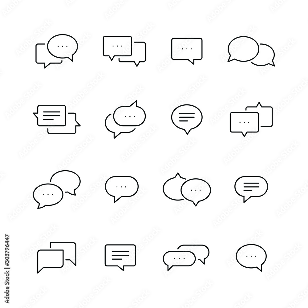 Fototapeta Chat bubble related icons: thin vector icon set, black and white kit