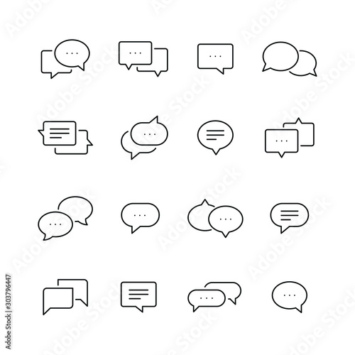 Obraz Chat bubble related icons: thin vector icon set, black and white kit - fototapety do salonu