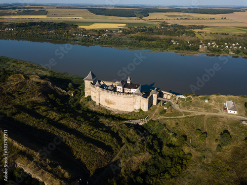 Aerial view Medieval fortress in the Khotyn town West Ukraine Wallpaper Mural