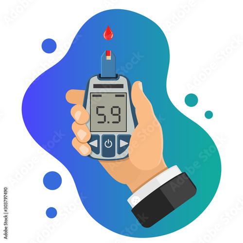 Cuadros en Lienzo diabetes concept with blood glucose meter