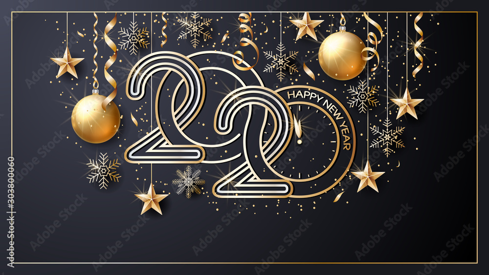 Fototapeta Happy New Year 2020. Vector. Christmas star. Greeting Card. Golden  inscription on a black background. Confetti, golden balls and ribbons.  Template for the design of greetings, invitations.