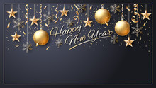 Happy New Year. Vector. Christmas Star. Greeting Card. Golden  Inscription On A Black Background. Confetti, Golden Balls And Ribbons.  Template For The Design Of Greetings, Invitations, Calendars.