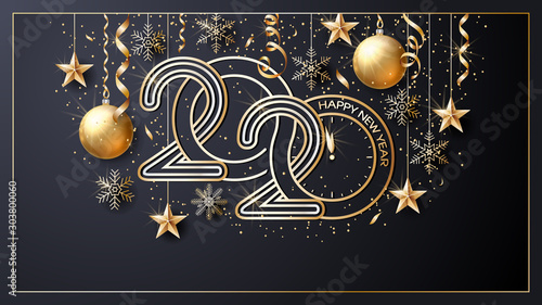 Fototapeta Happy New Year 2020. Vector. Christmas star. Greeting Card. Golden  inscription on a black background. Confetti, golden balls and ribbons.  Template for the design of greetings, invitations. obraz