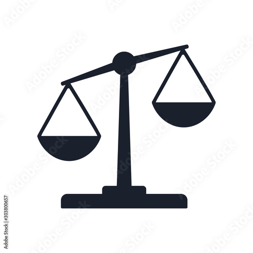 Valokuva Justice balance scales icon, design isolated on gradient background isolated on