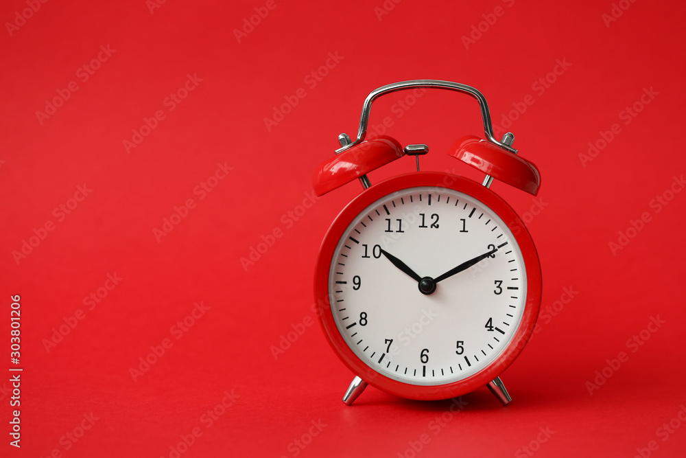 Fototapety, obrazy: Red alarm clock show 10 hour vintage modern