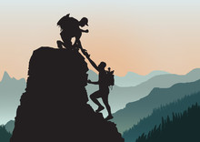 Silhouette Of Two People Climb...