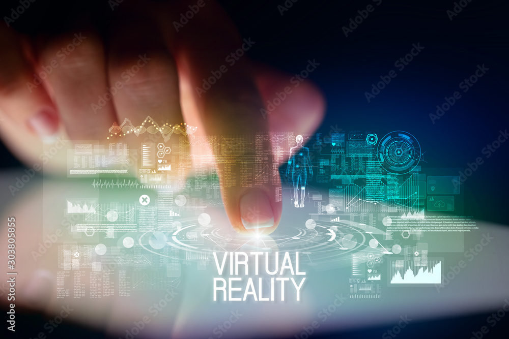 Fototapety, obrazy: Finger touching tablet with web technology icons and VIRTUAL REALITY inscription