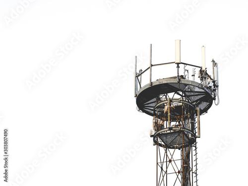 Obraz na płótnie Electrosmog transmission tower white Background