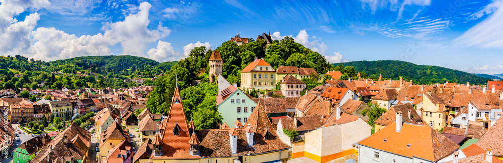 Fototapety, obrazy: Medieval old town Sighisoara in Mures County, Transylvania, Romania