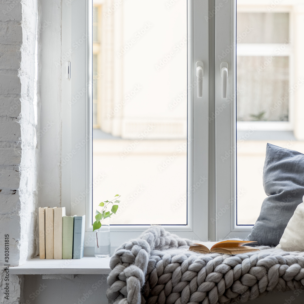 Fototapety, obrazy: Relax area on wooden windowsill