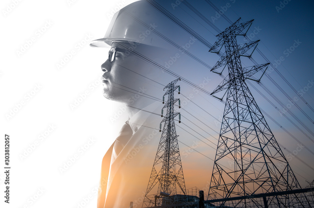 Fototapety, obrazy: the double exposure image of the engineer thinking overlay with the high voltage pole image.