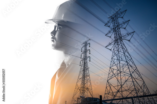 Платно the double exposure image of the engineer thinking overlay with the high voltage pole image