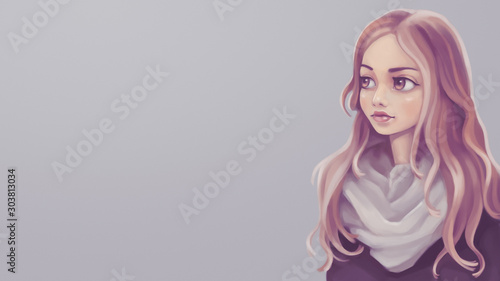 Blonde woman with long wavy beautiful hair, big brown eyes and pensive expression. Autumn mood. Portrait of a girl in a white scarf. Digital illustration on gray background. Attractive female student. - 303813034