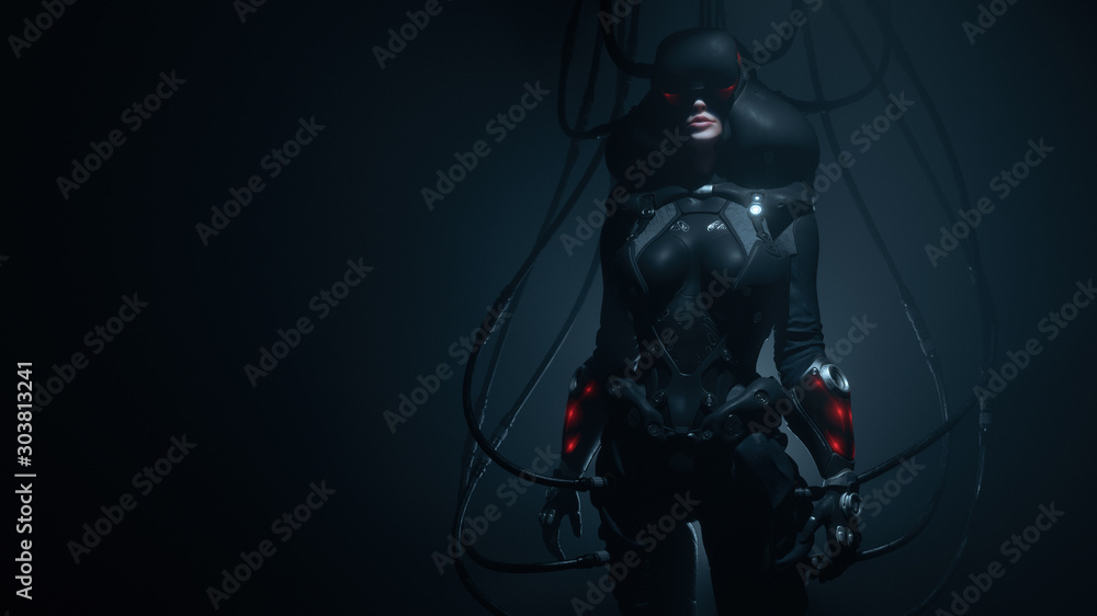 Fototapeta Woman gamer in futuristic suit and VR helmet diving deep into virtual reality. Dark Action Scene. Many wires connected to black sci-fi female costume. Cyber technology. Concept art. 3d illustration.